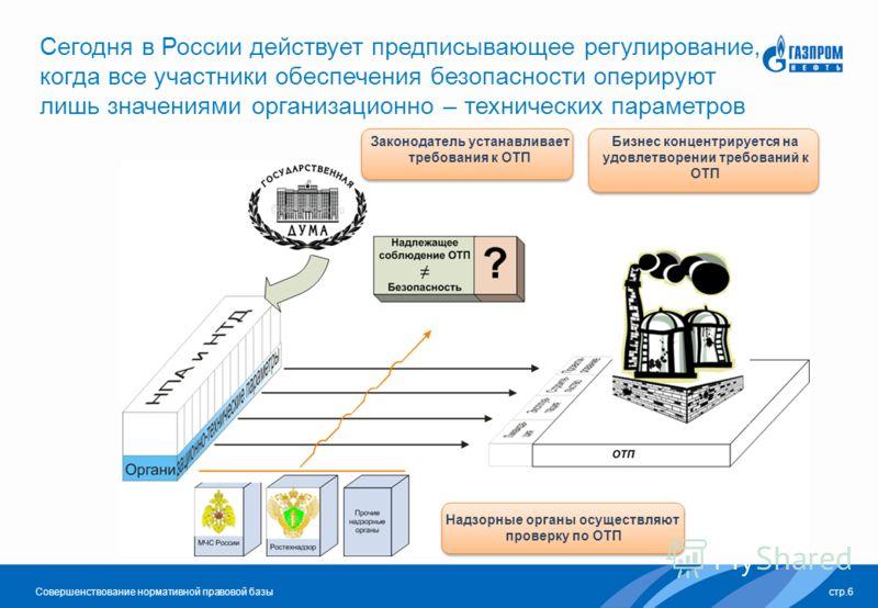 Совершенствование нормативной правовой базы Сегодня в России действует предписывающее регулирование, когда все участники обеспечения безопасности оперируют лишь значениями организационно – технических параметров стр.6 Законодатель устанавливает требо