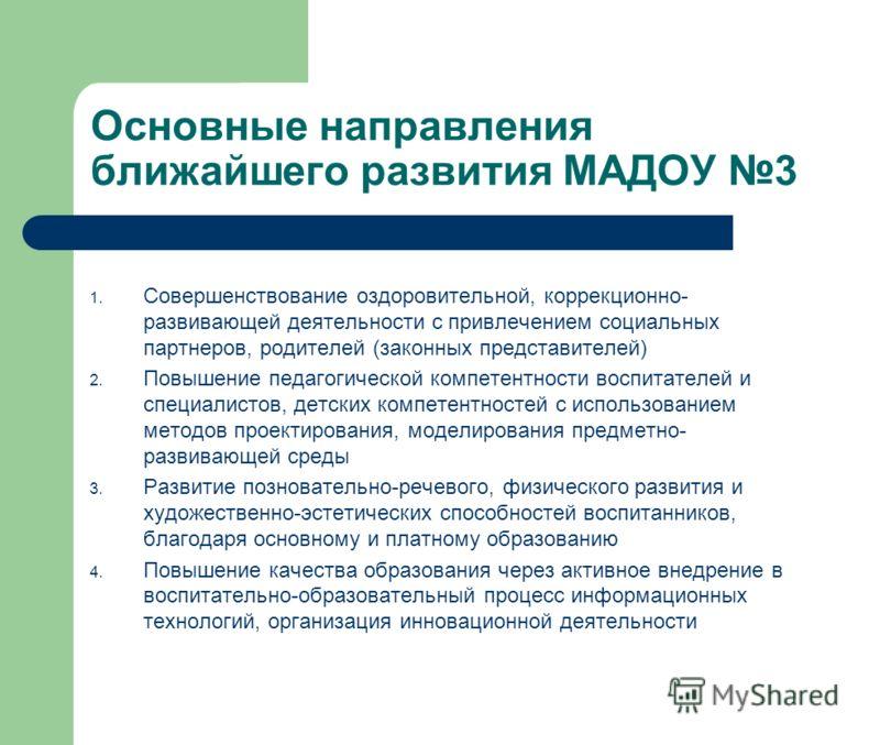Основные направления ближайшего развития МАДОУ 3 1. Совершенствование оздоровительной, коррекционно- развивающей деятельности с привлечением социальных партнеров, родителей (законных представителей) 2. Повышение педагогической компетентности воспитат