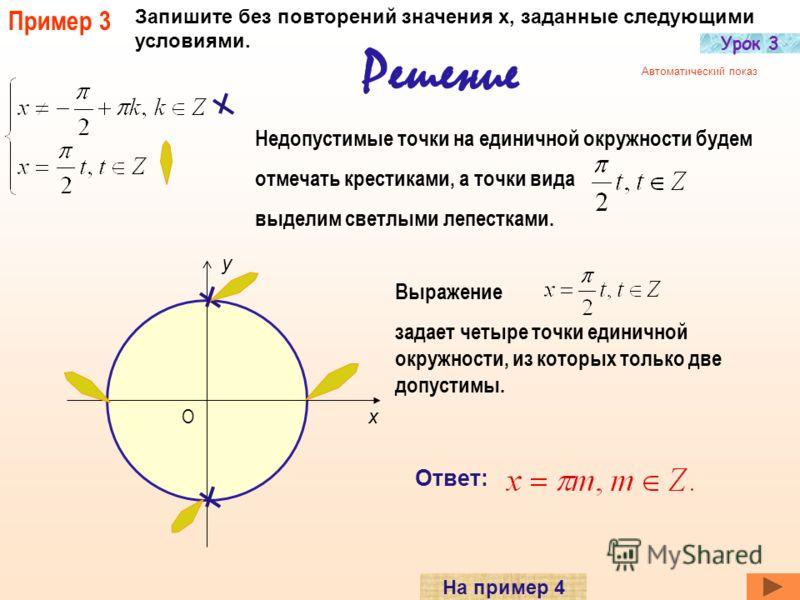 Пример 2 Переписать данное условие так, чтобы в них не было повторений. Решение Каждой серии чисел опять присваиваем лепесток определенного цвета. Теперь перенесем лепестки в нужные места тригонометрической окружности х y О Мы видим, что ни у одной т