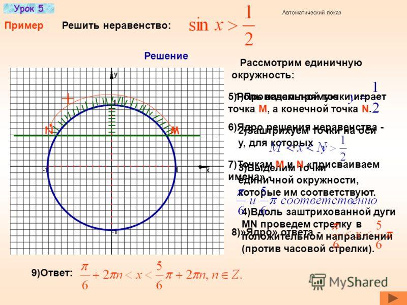 Урок 5 Решение тригонометрических неравенств (примеры) Задание На содержание