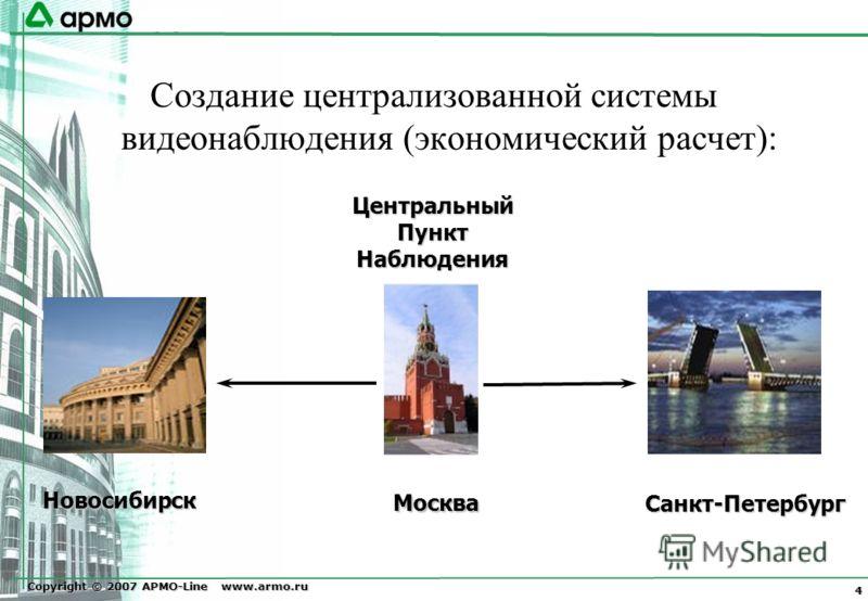 Copyright © 2007 АРМО-Line www.armo.ru 4 Создание централизованной системы видеонаблюдения (экономический расчет): Центральный Пункт Наблюдения Санкт-Петербург Москва Новосибирск Новосибирск