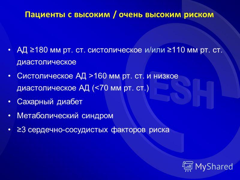 Пациенты с высоким / очень высоким риском АД 180 мм рт. ст. систолическое и/или 110 мм рт. ст. диастолическое Систолическое АД >160 мм рт. ст. и низкое диастолическое АД (