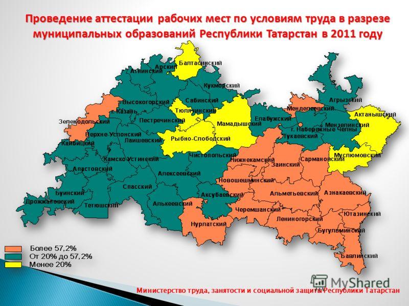Проведение аттестации рабочих мест по условиям труда в разрезе муниципальных образований Республики Татарстан в 2011 году Министерство труда, занятости и социальной защиты Республики Татарстан