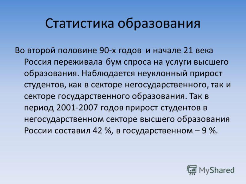 Статистика образования Во второй половине 90-х годов и начале 21 века Россия переживала бум спроса на услуги высшего образования. Наблюдается неуклонный прирост студентов, как в секторе негосударственного, так и секторе государственного образования.