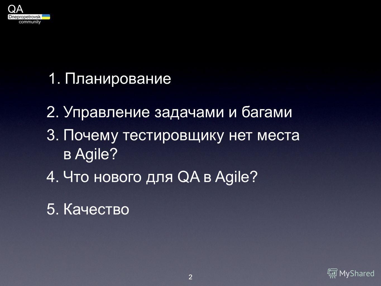 2 1. Планирование 2.Управление задачами и багами 3.Почему тестировщику нет места в Agile? 4.Что нового для QA в Agile? 5.Качество