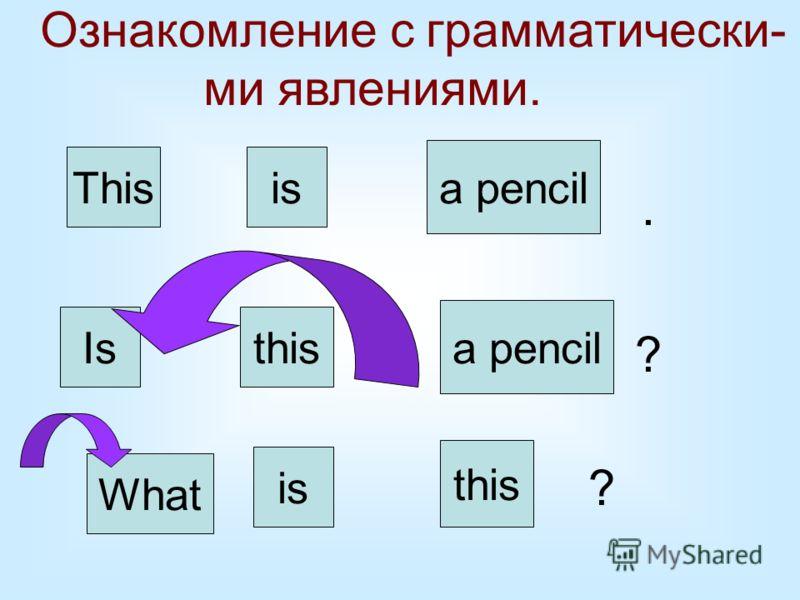 Ознакомление с грамматически- ми явлениями. Thisis a pencil. this Is is a pencil ? What ?