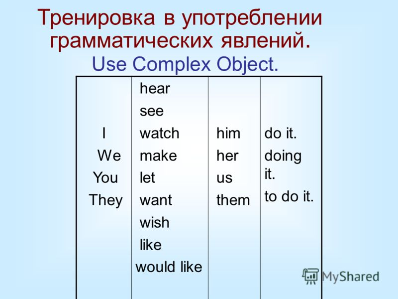 Тренировка в употреблении грамматических явлений. Use Complex Object. I We You They hear see watch make let want wish like would like him her us them do it. doing it. to do it.