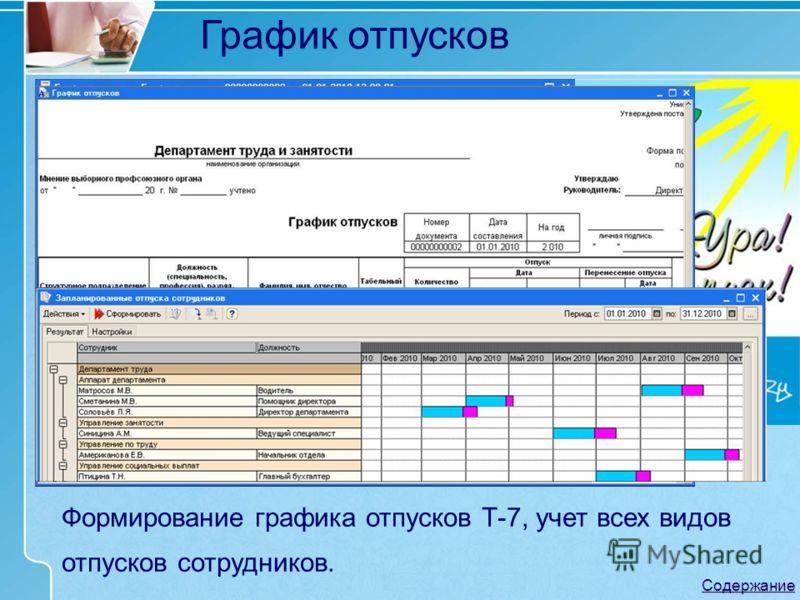 Формирование графика отпусков Т-7, учет всех видов отпусков сотрудников. График отпусков Содержание