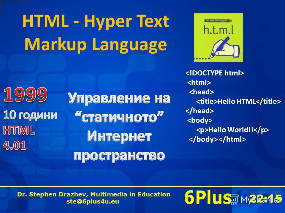 22:16 HTML - Hyper Text Markup Language 19 Hello HTML Hello World!!