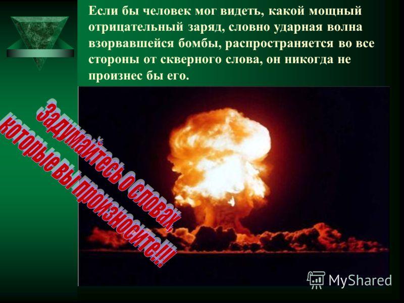 Если бы человек мог видеть, какой мощный отрицательный заряд, словно ударная волна взорвавшейся бомбы, распространяется во все стороны от скверного слова, он никогда не произнес бы его.