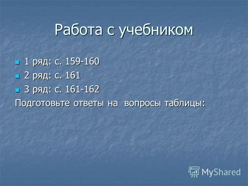 Работа с учебником 1 ряд: с. 159-160 1 ряд: с. 159-160 2 ряд: с. 161 2 ряд: с. 161 3 ряд: с. 161-162 3 ряд: с. 161-162 Подготовьте ответы на вопросы таблицы: