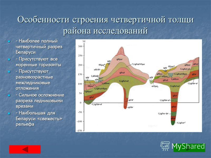 Особенности строения четвертичной толщи района исследований - Наиболее полный четвертичный разрез Беларуси - Наиболее полный четвертичный разрез Беларуси - Присутствуют все моренные горизонты - Присутствуют все моренные горизонты - Присутствуют разно