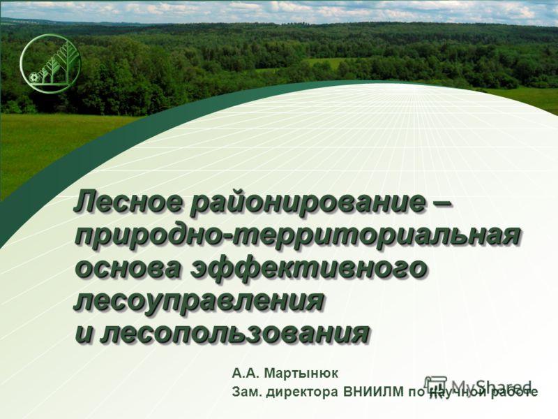 Лесное районирование – природно-территориальная основа эффективного лесоуправления и лесопользования А.А. Мартынюк Зам. директора ВНИИЛМ по научной работе