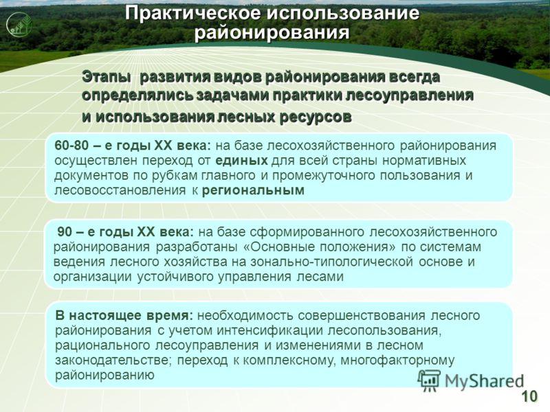 10 Практическое использование районирования Этапы развития видов районирования всегда определялись задачами практики лесоуправления и использования лесных ресурсов Этапы развития видов районирования всегда определялись задачами практики лесоуправлени