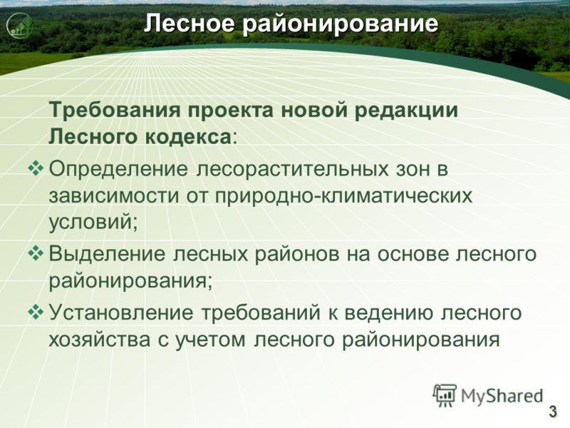 3 3 Лесное районирование Требования проекта новой редакции Лесного кодекса: Определение лесорастительных зон в зависимости от природно-климатических условий; Выделение лесных районов на основе лесного районирования; Установление требований к ведению