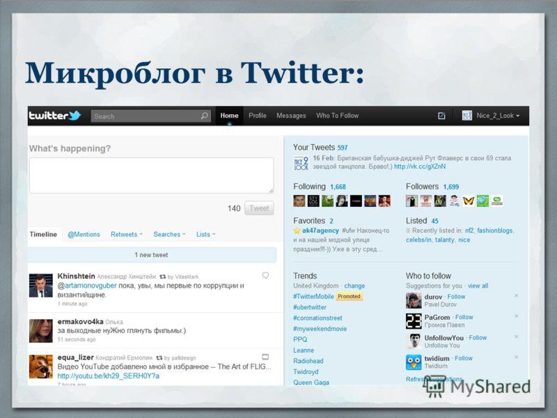 Микроблог в Twitter: