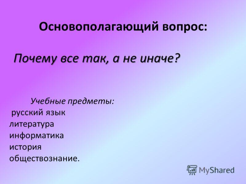 Основополагающий вопрос: Учебные предметы: русский язык литература информатика история обществознание. Почему все так, а не иначе?