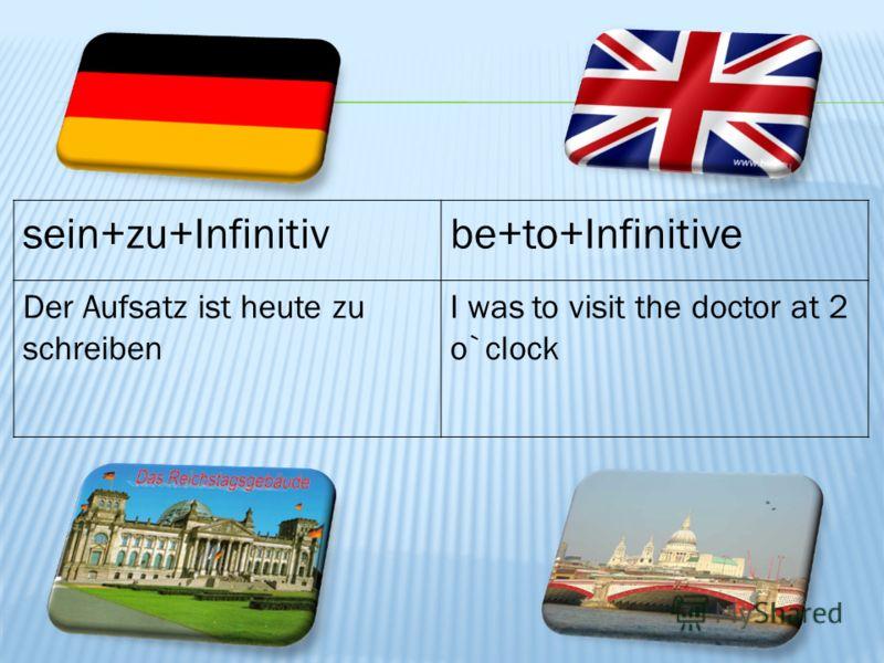 sein+zu+Infinitivbe+to+Infinitive Der Aufsatz ist heute zu schreiben I was to visit the doctor at 2 o`clock