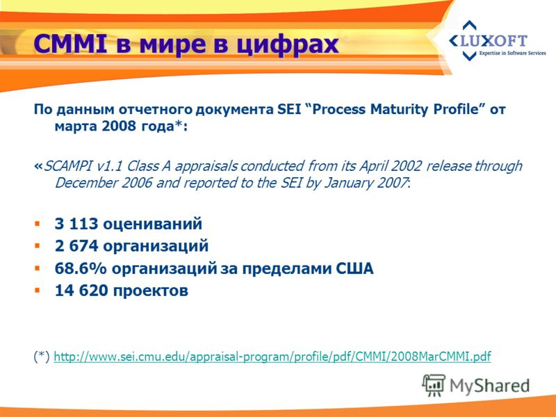 CMMI в мире в цифрах По данным отчетного документа SEI Process Maturity Profile от марта 2008 года*: «SCAMPI v1.1 Class A appraisals conducted from its April 2002 release through December 2006 and reported to the SEI by January 2007: 3 113 оцениваний