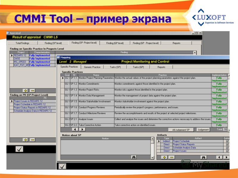 CMMI Tool – пример экрана