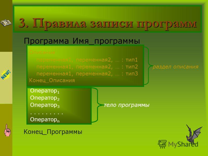 3. Правила записи программ Программа Имя_программы Описание переменная1, переменная2, … : тип1 переменная1, переменная2, … : тип2 раздел описания переменная1, переменная2, … : тип3 Конец_Описания Оператор 1 Оператор 2 Оператор 3 тело программы.......