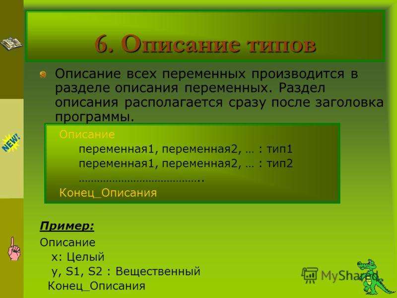 6. Описание типов Описание всех переменных производится в разделе описания переменных. Раздел описания располагается сразу после заголовка программы. Описание переменная1, переменная2, … : тип1 переменная1, переменная2, … : тип2 ………………………………….. Конец
