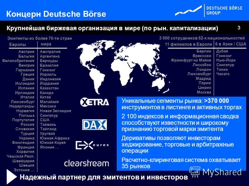 3 Берлин Врексхам Франкфурт на Майне Лиссабон Лондон Люксембург Мадрид Париж Цюрих Москва Крупнейшая биржевая организация в мире (по рын. капитализации) 11 филиалов в Европе 6 в Азии / США Эмитенты из более 70-ти стран мира Уникальные сегменты рынка: