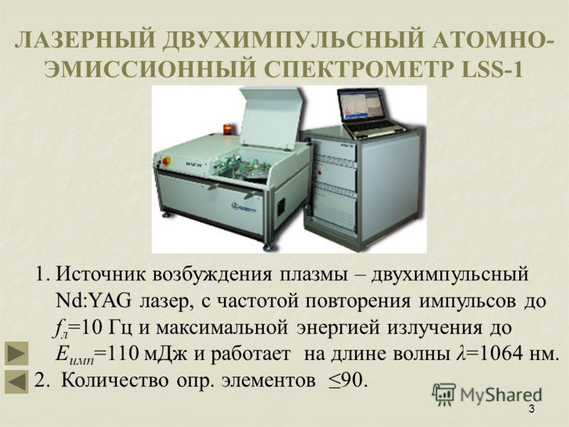 3 ЛАЗЕРНЫЙ ДВУХИМПУЛЬСНЫЙ АТОМНО- ЭМИССИОННЫЙ СПЕКТРОМЕТР LSS-1 1.Источник возбуждения плазмы – двухимпульсный Nd:YAG лазер, с частотой повторения импульсов до f л =10 Гц и максимальной энергией излучения до Е имп =110 мДж и работает на длине волны λ