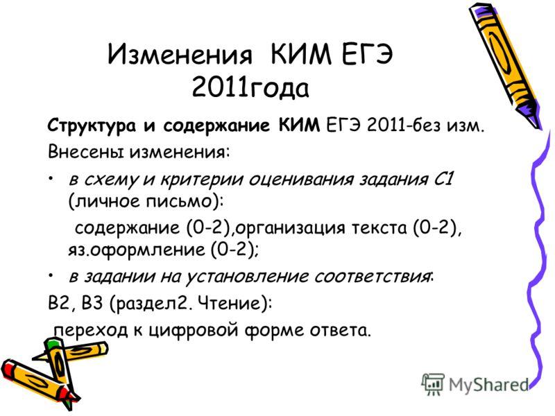 Изменения КИМ ЕГЭ 2011года Структура и содержание КИМ ЕГЭ 2011-без изм. Внесены изменения: в схему и критерии оценивания задания С1 (личное письмо): содержание (0-2),организация текста (0-2), яз.оформление (0-2); в задании на установление соответстви