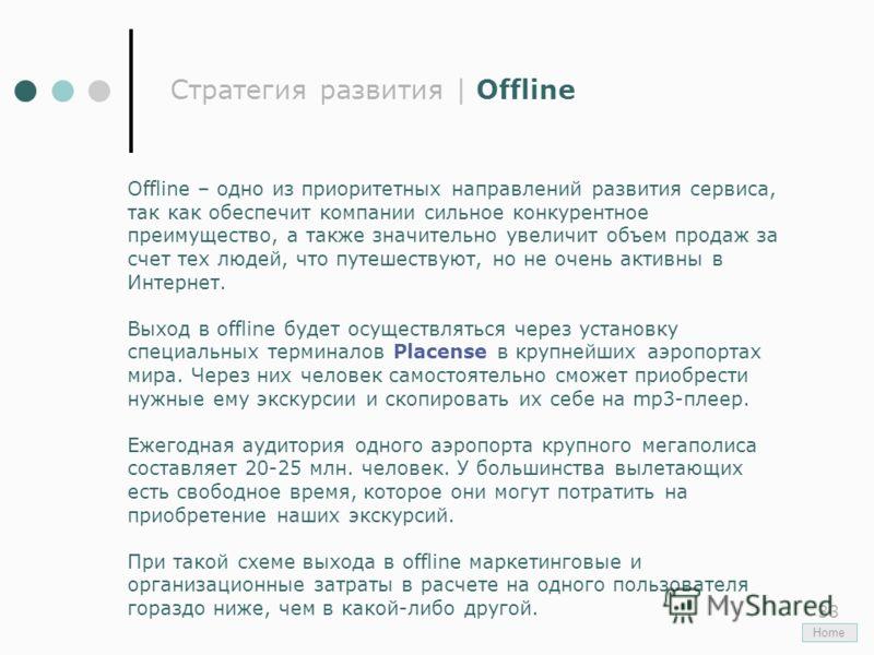 33 Стратегия развития | Offline Offline – одно из приоритетных направлений развития сервиса, так как обеспечит компании сильное конкурентное преимущество, а также значительно увеличит объем продаж за счет тех людей, что путешествуют, но не очень акти