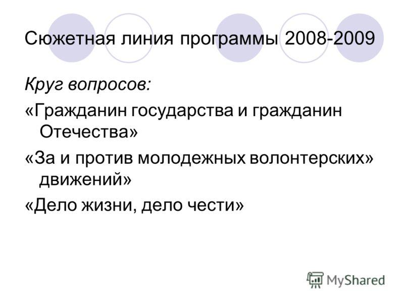 Сюжетная линия программы 2008-2009 Круг вопросов: «Гражданин государства и гражданин Отечества» «За и против молодежных волонтерских» движений» «Дело жизни, дело чести»