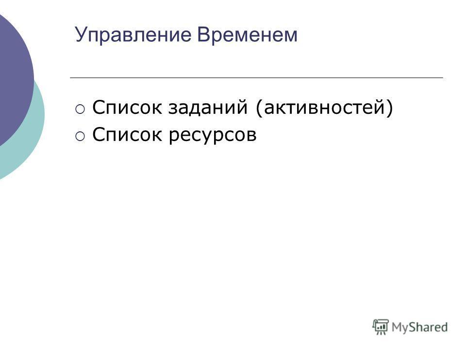 Управление Временем Список заданий (активностей) Список ресурсов