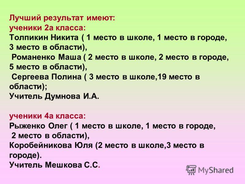 Лучший результат имеют: ученики 2а класса: Толпикин Никита ( 1 место в школе, 1 место в городе, 3 место в области), Романенко Маша ( 2 место в школе, 2 место в городе, 5 место в области), Сергеева Полина ( 3 место в школе,19 место в области); Учитель