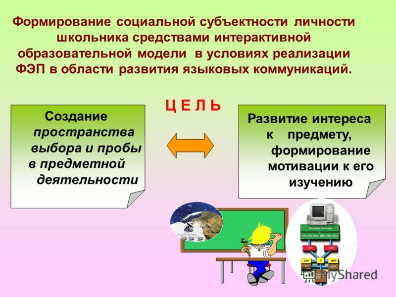 Формирование социальной субъектности личности школьника средствами интерактивной образовательной модели в условиях реализации ФЭП в области развития языковых коммуникаций. Развитие интереса к предмету, формирование мотивации к его изучению Создание п