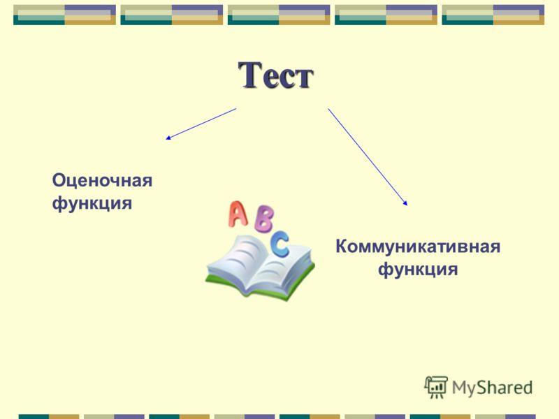 Тест Оценочная функция Коммуникативная функция