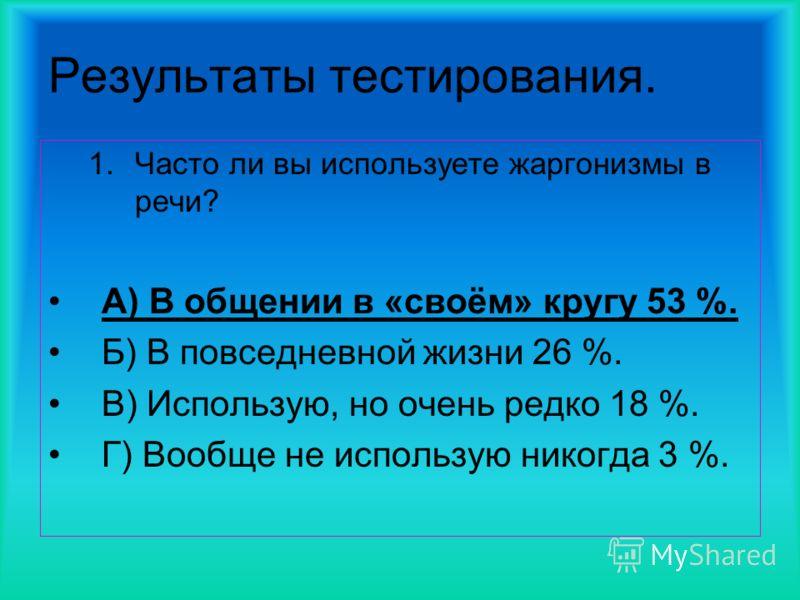Результаты тестирования. 1.Часто ли вы используете жаргонизмы в речи? А) В общении в «своём» кругу 53 %. Б) В повседневной жизни 26 %. В) Использую, но очень редко 18 %. Г) Вообще не использую никогда 3 %.