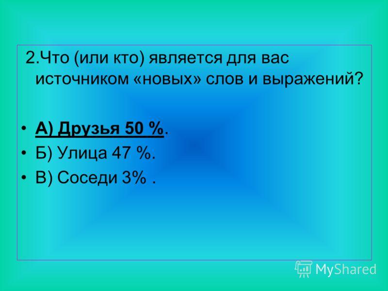 2.Что (или кто) является для вас источником «новых» слов и выражений? А) Друзья 50 %. Б) Улица 47 %. В) Соседи 3%.