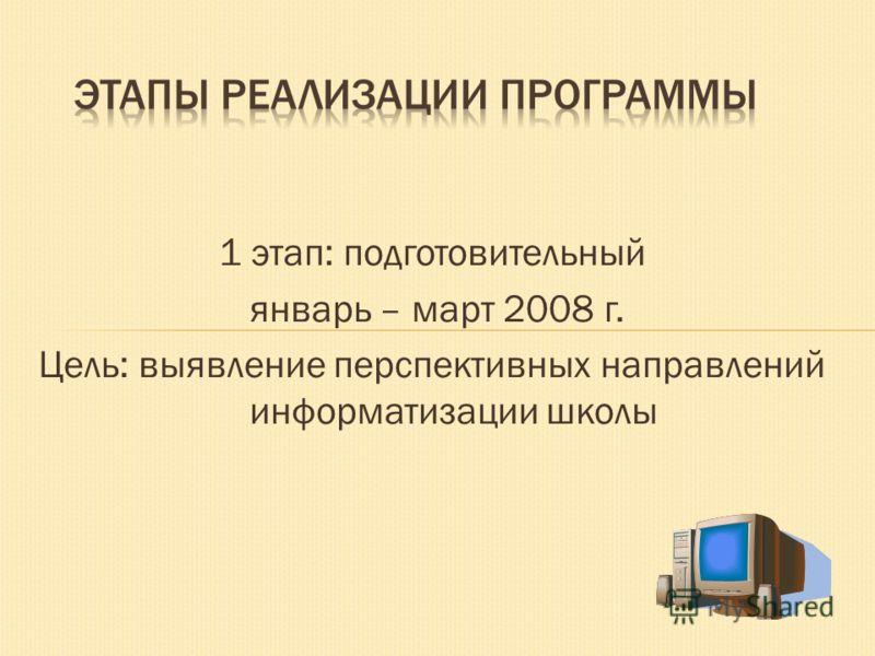 1 этап: подготовительный январь – март 2008 г. Цель: выявление перспективных направлений информатизации школы