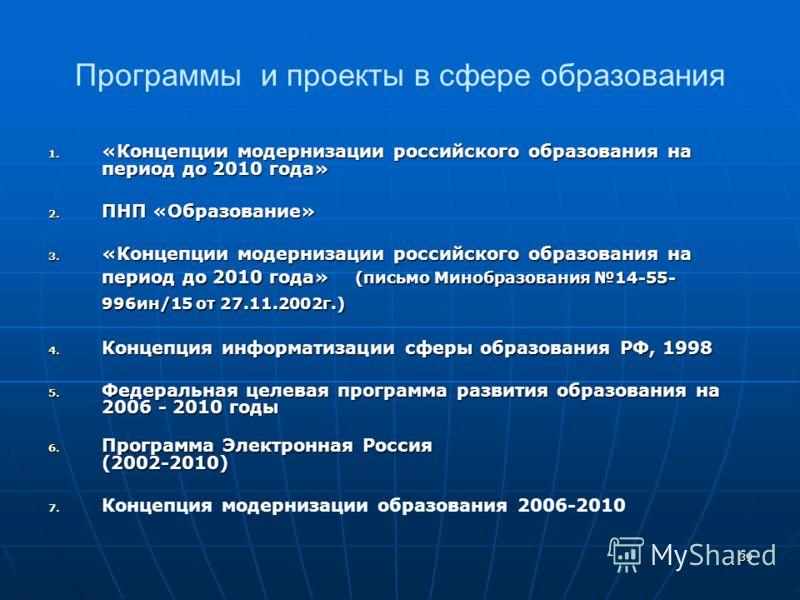39 Программы и проекты в сфере образования 1. «Концепции модернизации российского образования на период до 2010 года» 2. ПНП «Образование» 3. «Концепции модернизации российского образования на период до 2010 года» (письмо Минобразования 14-55- 996ин/