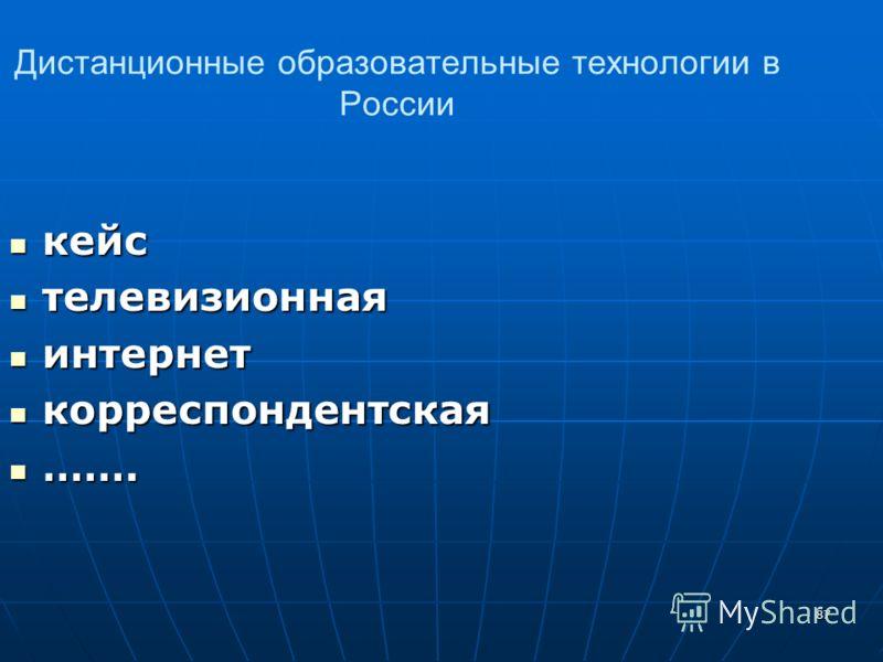 87 Дистанционные образовательные технологии в России кейс кейс телевизионная телевизионная интернет интернет корреспондентская корреспондентская ……. …….