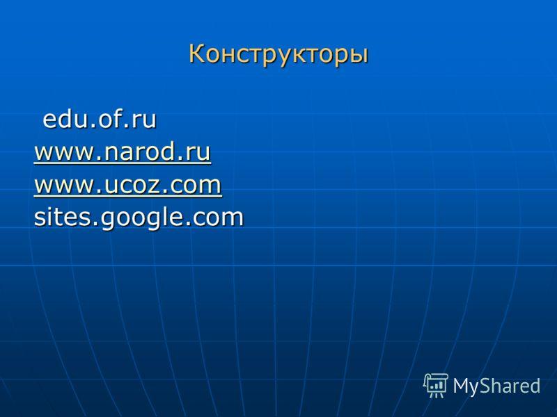 Конструкторы edu.of.ru edu.of.ru www.narod.ru www.narod.ru www.ucoz.com www.ucoz.comsites.google.com