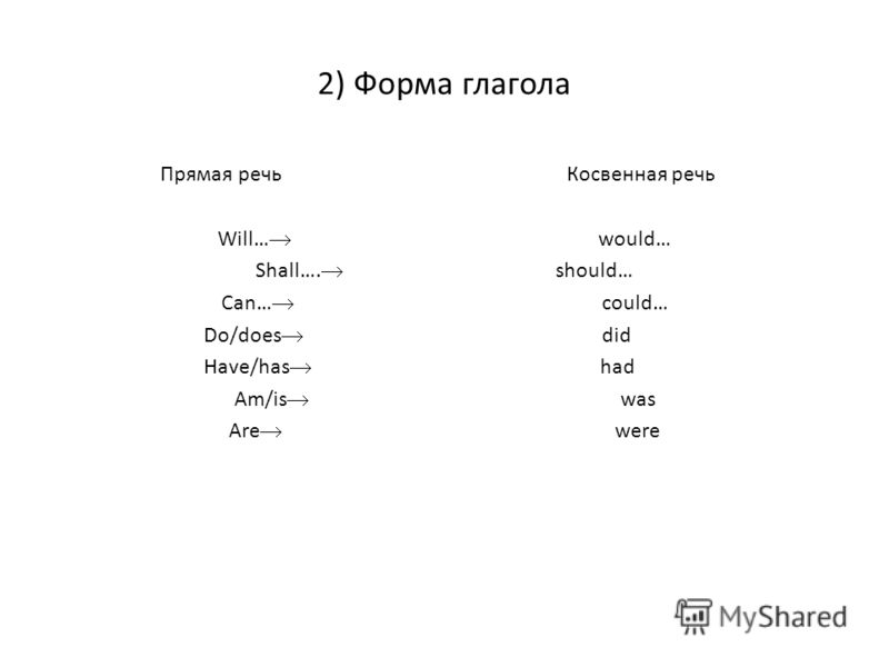 2) Форма глагола Прямая речь Косвенная речь Will… would… Shall…. should… Can… could… Do/does did Have/has had Am/is was Are were