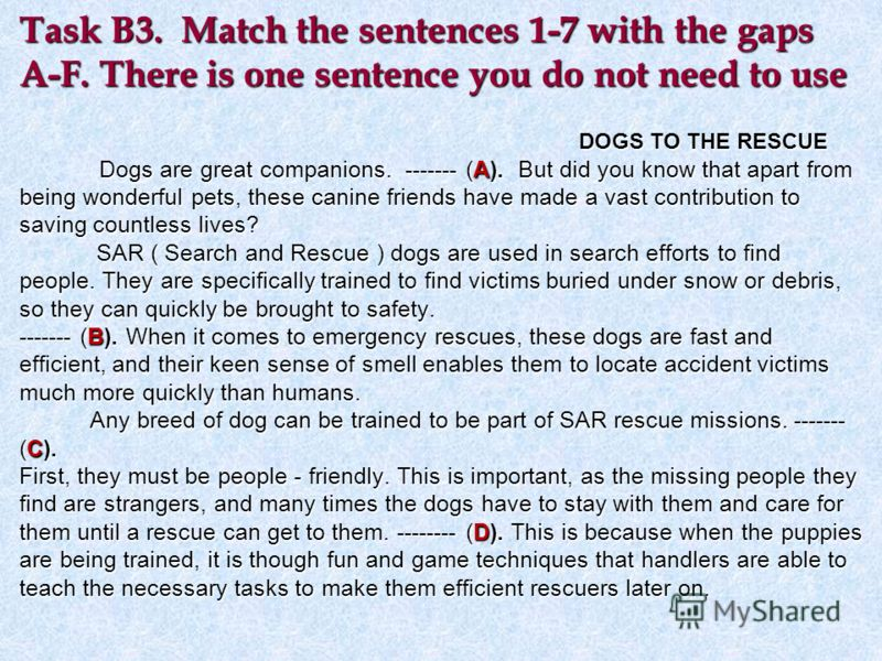 Task B3. Match the sentences 1-7 with the gaps A-F. There is one sentence you do not need to use DOGS TO THE RESCUE Dogs are great companions. ------- (A). But did you know that apart from being wonderful pets, these canine friends have made a vast c