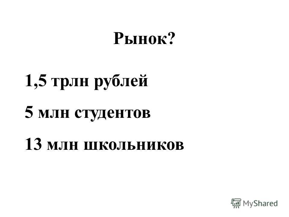 Рынок? 1,5 трлн рублей 5 млн студентов 13 млн школьников
