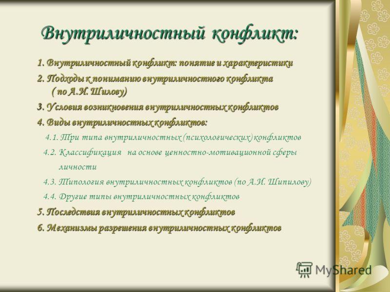 Внутриличностный конфликт: 1. Внутриличностный конфликт: понятие и характеристики 2. Подходы к пониманию внутриличностного конфликта ( по А.И. Шилову)