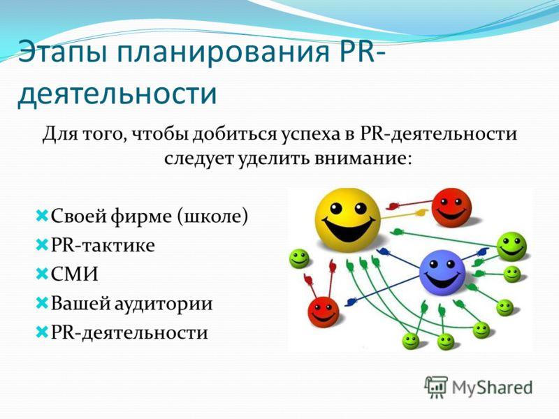 Для того, чтобы добиться успеха в PR-деятельности следует уделить внимание: Своей фирме (школе) PR-тактике СМИ Вашей аудитории PR-деятельности Этапы планирования PR- деятельности