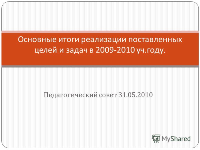 Педагогический совет 31.05.2010 Основные итоги реализации поставленных целей и задач в 2009-2010 уч. году.