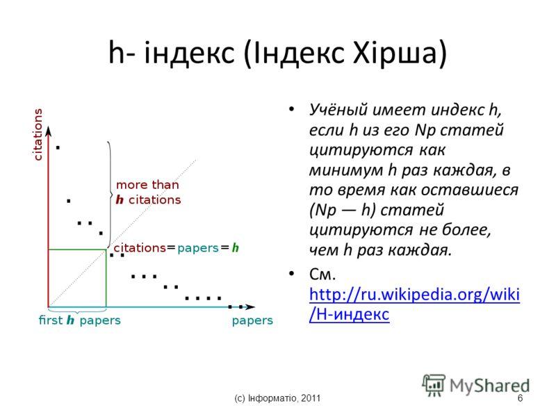 (с) Інформатіо, 20116 h- індекс (Індекс Хірша) Учёный имеет индекс h, если h из его Np статей цитируются как минимум h раз каждая, в то время как оставшиеся (Np h) статей цитируются не более, чем h раз каждая. См. http://ru.wikipedia.org/wiki /H-инде