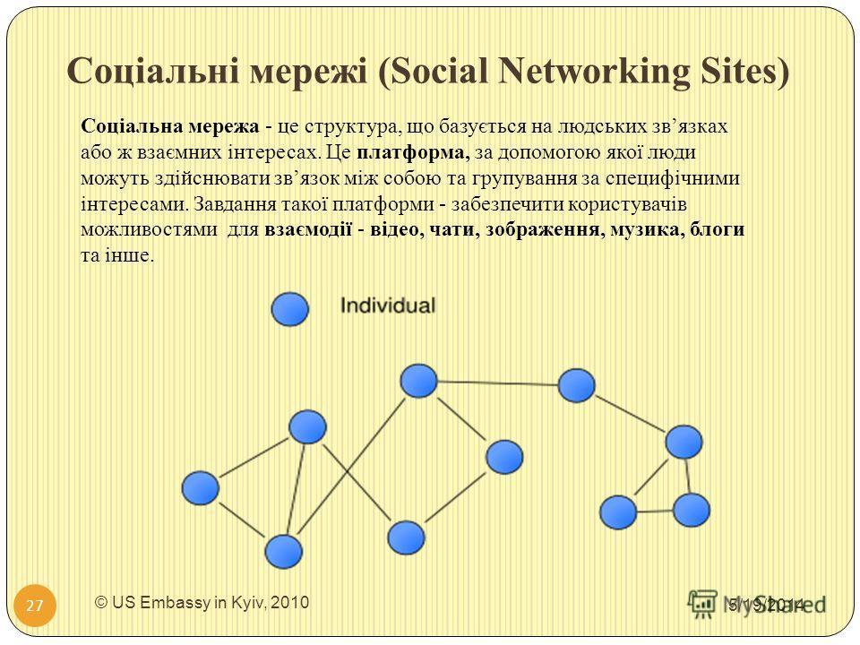 Соціальні мережі (Social Networking Sites) 5/19/2014 © US Embassy in Kyiv, 2010 27 Соціальна мережа - це структура, що базується на людських звязках або ж взаємних інтересах. Це платформа, за допомогою якої люди можуть здійснювати звязок між собою та