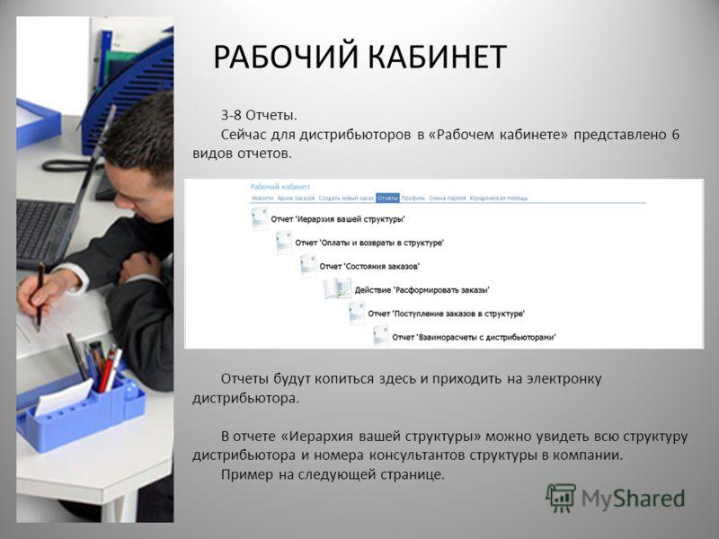 РАБОЧИЙ КАБИНЕТ 3-8 Отчеты. Сейчас для дистрибьюторов в «Рабочем кабинете» представлено 6 видов отчетов. Отчеты будут копиться здесь и приходить на электронку дистрибьютора. В отчете «Иерархия вашей структуры» можно увидеть всю структуру дистрибьютор